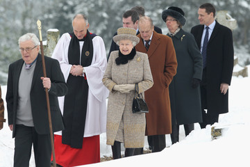 Philip Queen Elizabeth II And The Duke Of Edinburgh Attend Church