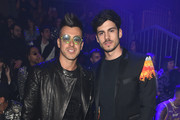 Stephan El Shaarawy and a guest attend the Philipp Plein fashion show on February 22, 2020 in Milan, Italy.