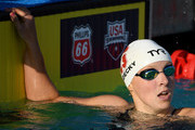 Katie Ledecky reacts to victory in the Women 400 LC Meter Freestyle Final during day 4 of the Phillips 66 National Swimming Championships at the Woollett Aquatics Center on July 28, 2018 in Irvine, California.