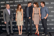 """(L-R) Actors Bryan Cranston, Jessica Biel, Colin Farrell, Kate Beckinsale, and Director Len Wiseman attend the photo call for Columbia Pictures' """"Total Recall"""" held at the Four Seasons Hotel on July 28, 2012 in Los Angeles, California."""