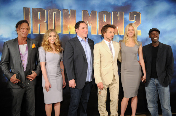 """(L-R) Actors Mickey Rourke, Scarlett Johansson, director/actor Jon Favreau, actor Robert Downey Jr., actress Gwyneth Paltrow, and actor Don Cheadle pose during Paramount Pictures & Marvel Entertainment's """"Iron Man 2"""" photo call held at the Four Seasons Hotel on April 23, 2010 in Los Angeles, California."""