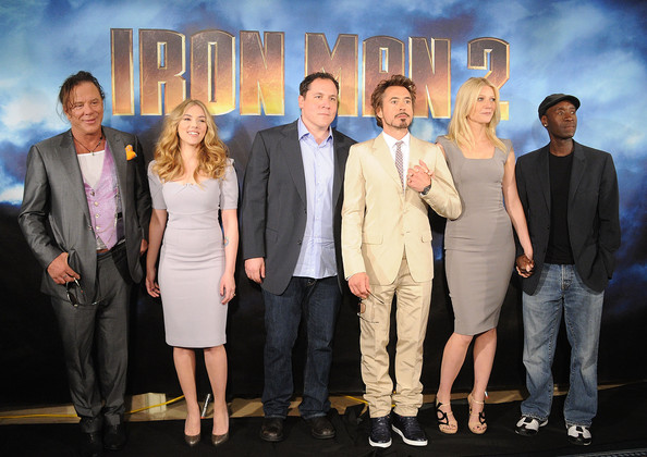 (L-R) Actors Mickey Rourke, Scarlett Johansson, director/actor Jon Favreau, actor Robert Downey Jr., actress Gwyneth Paltrow, and actor Don Cheadle pose during Paramount Pictures & Marvel Entertainment's 'Iron Man 2' photo call held at the Four Seasons Hotel on April 23, 2010 in Los Angeles, California.