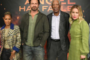 "Jada Pinkett Smith, Gerard Butler, Morgan Freeman and Piper Perabo attend the Photocall For Lions Gate's ""Angel Has Fallen"" at the Beverly Wilshire Four Seasons Hotel on August 16, 2019 in Beverly Hills, California."