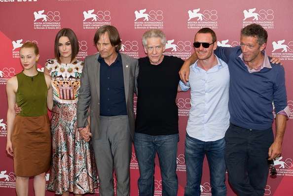 (L-R) Actors Sarah Gadon, Keira Knightley, Viggo Mortensen, director David Cronenberg, Michael Fassbender and Vincent Cassel arrive for the 'A Dangerous Method' photocall during the 68th Venice International Film Festival at Palazzo del Casino on September 2, 2011 in Venice, Italy.