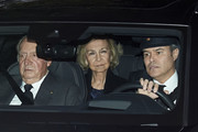 King Juan Carlos and Queen Sofia attend  Princess Pilar de Borbon Funeral Chapel on January 08, 2020 in Madrid, Spain.