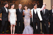 """(L-R) Actors Sam Claflin,Astrid Berges-Frisbey,Geoffrey Rush,Penelope Cruz,Johnny Depp, director Rob Marshall, and producer Jerry Bruckheimer attend the """"Pirates of the Caribbean: On Stranger Tides"""" premiere at the Palais des Festivals during the 64th Cannes Film Festival on May 14, 2011 in Cannes, France."""