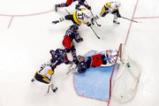 Tom Kuhnhackl #34 of the Pittsburgh Penguins flips the puck over the legs of Sergei Bobrovsky #72 of the Columbus Blue Jackets for a goal during the third period in Game Four of the Eastern Conference First Round during the 2017 NHL Stanley Cup Playoffs on April 18, 2017 at Nationwide Arena in Columbus, Ohio. Columbus defeated Pittsburgh 5-4.
