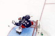 Sergei Bobrovsky #72 of the Columbus Blue Jackets makes a save in Game Four of the Eastern Conference First Round during the 2017 NHL Stanley Cup Playoffs against the Pittsburgh Penguins on April 18, 2017 at Nationwide Arena in Columbus, Ohio. Columbus defeated Pittsburgh 5-4.