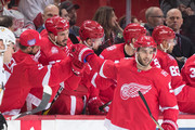 Frans Nielsen #51 of the Detroit Red Wings pounds gloves with teammates on the bench following his second period goal during an NHL game against the Pittsburgh Penguins at Little Caesars Arena on December 31, 2017 in Detroit, Michigan.