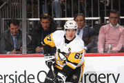 Sidney Crosby #87 of the Pittsburgh Penguins skates against the New Jersey Devils at the Prudential Center on February 19, 2019 in Newark, New Jersey. The Penguins defeated the Devils 4-3.