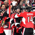Mike Hoffman #68 of the Ottawa Senators celebrates with his teammates Kyle Turris #7, Alex Burrows #14 and Fredrik Claesson #33 after scoring a goal against Marc-Andre Fleury #29 of the Pittsburgh Penguins during the first period in Game Three of the Eastern Conference Final during the 2017 NHL Stanley Cup Playoffs at Canadian Tire Centre on May 17, 2017 in Ottawa, Canada.