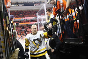 Patric Hornqvist #72 of the Pittsburgh Penguins leaves the ice following warm ups prior to playing against the Philadelphia Flyers in Game Six of the Eastern Conference First Round during the 2018 NHL Stanley Cup Playoffs at the Wells Fargo Center on April 22, 2018 in Philadelphia, Pennsylvania. The Penguins defeated the Flyers 8-5.