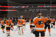 Claude Giroux #28 of the Philadelphia Flyers leaves the ice following a loss to the Pittsburgh Penguins in Game Six of the Eastern Conference First Round during the 2018 NHL Stanley Cup Playoffs at the Wells Fargo Center on April 22, 2018 in Philadelphia, Pennsylvania. The Penguins defeated the Flyers 8-5.