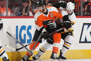 Claude Giroux #28 of the Philadelphia Flyers skates against the Pittsburgh Penguins in Game Three of the Eastern Conference First Round during the 2018 NHL Stanley Cup Playoffs at the Wells Fargo Center on April 15, 2018 in Philadelphia, Pennsylvania. The Penguins defeated the Flyers 5.1