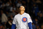 Anthony Rizzo #44 of the Chicago Cubs reacts at the end of the eighth inning against the Pittsburgh Pirates at Wrigley Field on September 24, 2018 in Chicago, Illinois. The Pittsburgh Pirates won 5-1.