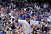 Jon Lester #34 of the Chicago Cubs pitches against the Pittsburgh Pirates during the first inning at Wrigley Field on April 16, 2017 in Chicago, Illinois.