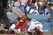 Justin Turner #10 of the Los Angeles Dodgers is down after being hit in the head by a pitch from Tyler Glasnow of the Pittsburgh Pirates in the fifth inning at Dodger Stadium on July 4, 2018 in Los Angeles, California.