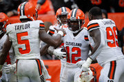 Josh Gordon #12 celebrates his touchdown with Tyrod Taylor #5 and Devaroe Lawrence #99 of the Cleveland Browns during the fourth quarter against the Pittsburgh Steelers at FirstEnergy Stadium on September 9, 2018 in Cleveland, Ohio.