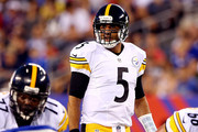 Quarterback Bruce Gradkowski #5 of the Pittsburgh Steelers lines up to take a snap against the New York Giants during a preseason game at MetLife Stadium on August 9, 2014 in East Rutherford, New Jersey.