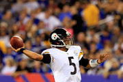 Quarterback Bruce Gradkowski #5 of the Pittsburgh Steelers passes against the New York Giants during a preseason game at MetLife Stadium on August 9, 2014 in East Rutherford, New Jersey.