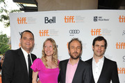 """(L-R) Producers Jamie Patricof and Lynette Howel, Writer/Director Derek Cianfrance and Producer Alex Orlovsky attend """"The Place Beyond The Pines"""" premiere during the 2012 Toronto International Film Festival at Princess of Wales Theatre on September 7, 2012 in Toronto, Canada."""