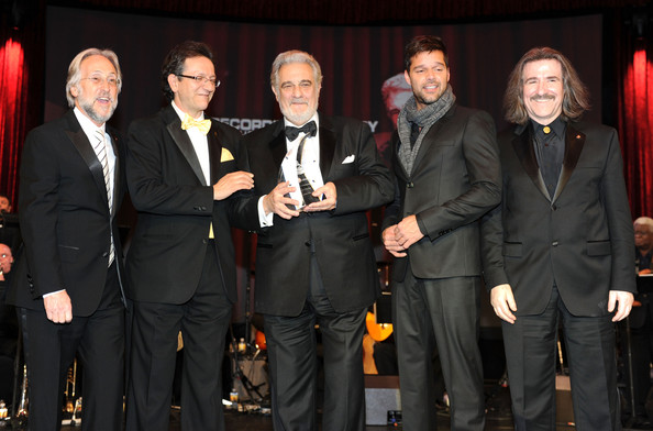 2010 Person Of The Year Honoring Placido Domingo - Backstage and Audience [person of the year,event,suit,formal wear,tuxedo,award,performance,placido domingo,neil portnow,ricky martin,gabriel abaroa jr.,audience,president,l-r,placido domingo - backstage,latin recording academy]