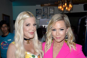 (L-R) Tori Spelling and Jennie Garth attend Planet Smoothie Backstage at 2019 Teen Choice Awards on August 11, 2019 in Hermosa Beach, California.
