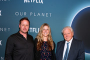 "Cinematographer Jamie McPherson, Producer Sophie Lanfear, and Sir David Attenborough attend the ""Our Planet"" Special Screening With Sir David Attenborough at the Smithsonian National Museum Of American History on April 10, 2019 in Washington, DC."