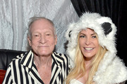 Hugh Hefner (L) and model Crystal Hefner attend the annual Halloween Party, hosted by Playboy and Hugh Hefner, at the Playboy Mansion on October 24, 2015 in Los Angeles, California.