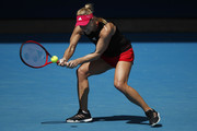 Angelique Kerber of Germany plays a forehand during a practice session at Melbourne Park on January 31, 2021 in Melbourne, Australia. Melbourne Park is now out of lockdown mode following the end of the player and support staff quarantine period after arriving in Melbourne on International flights and they can resume a regular practice schedule ahead of lead in tournaments before the 2021 Australian Open.