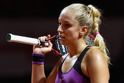Sabine Lisicki of Germany reacts during her match against Timea Babos of Hungary during Day 1 of the Porsche Tennis Grand Prix at Porsche-Arena on April 18, 2016 in Stuttgart, Germany.
