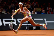 Ana Ivanovic of Serbia plays a forehand in her match against Carina Witthoeft of Germany during Day 2 of the Porsche Tennis Grand Prix at Porsche-Arena on April 19, 2016 in Stuttgart, Germany.