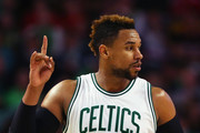 Jared Sullinger #7 of the Boston Celtics celebrates after scoring against the Portland Trail Blazers  during the second quarter at TD Garden on March 2, 2016 in Boston, Massachusetts.