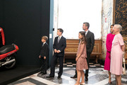 In this handout image provided by MEW and The National History Museum, Crown Prince Frederik of Denmark,  Crown Princess Mary of Denmark with children Prince Christian, Princess Isabella and and Prince Vincent during the unveiling of a portrait of Crown Prince Frederik by Australian painter Ralph Heimans at Frederiksborg Palace on May 24, 2018 in Hillerod, Denmark. The exhibitions 'Ralph Heinmans Portraits' and 'HRH Crown Price Frederik - Prince of Denamrk' both open on the occasion of the 50th birthday of The Crown Prince Frederik of Denmark.