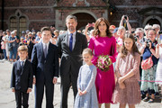 In this handout image provided by MEW and The National History Museum, Crown Prince Frederik of Denmark,  Crown Princess Mary of Denmark with children Prince Christian, Princess Isabella and the royal twins Princess Josephine and Prince Vincent during the unveiling of a portrait of Crown Prince Frederik by Australian painter Ralph Heimans at Frederiksborg Palace on May 24, 2018 in Hillerod, Denmark. The exhibitions 'Ralph Heinmans Portraits' and 'HRH Crown Price Frederik - Prince of Denamrk' both open on the occasion of the 50th birthday of The Crown Prince Frederik of Denmark.