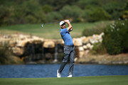 Ross Fisher of England takes his second shot on hole seven during Day Two of the Portugal Masters at Dom Pedro Victoria Golf Course on September 21, 2018 in Albufeira, Portugal.