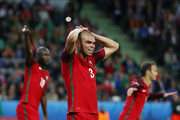 Pepe of Portugal reacts after missing a chance during the UEFA EURO 2016 Group F match between Portugal and Iceland at Stade Geoffroy-Guichard on June 14, 2016 in Saint-Etienne, France.