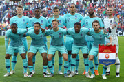 The team of The Netherlands line up prior to the UEFA Nations League Final between Portugal and the Netherlands at Estadio do Dragao on June 09, 2019 in Porto, Portugal.