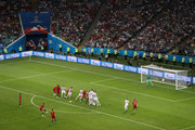 Cristiano Ronaldo of Portugal scores a free-kick for his team's third goal during the 2018 FIFA World Cup Russia group B match between Portugal and Spain at Fisht Stadium on June 15, 2018 in Sochi, Russia.