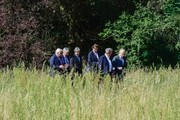(L to R) Germany's Foreign minister Frank-Walter Steinmeier, Belgium's Foreign minister Didier Reynders, Italy's Foreign minister Paolo Gentiloni, Netherlands' Foreign minister Bert Koenders, Luxembourg's Foreign minister Jean Asselborn and France's Foreign minister Jean-Marc Ayrault take a walk in the garden of the villa Borsig prior to post-Brexit talks in Berlin on June 25, 2016..Foreign ministers of the six founding members of the European project meet to discuss the bloc's future in the wake of Britain's decision to leave. . / AFP / John MACDOUGALL
