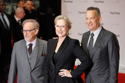 (L-R) Steven Spielberg, Meryl Streep and Tom Hanks attend 'The Post' European Premeire at Odeon Leicester Square on January 10, 2018 in London, England.