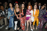 (L-R) Myles O'Neal, Tao Okamoto, Nina Agdal, Angela Sarafyan, Bella Thorne and  Dani Thorne attend the Prabal Gurung front row during New York Fashion Week: The Shows at Gallery I at Spring Studios on February 10, 2019 in New York City.