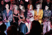 (L-R) Tao Okamoto, Nina Agdal, Angela Sarafyan, Bella Thorne, Dani Thorne and a guest attend the Prabal Gurung front row during New York Fashion Week: The Shows at Gallery I at Spring Studios on February 10, 2019 in New York City.