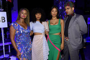 (L-R) Raquel Willis, Indya Moore, Geena Rocero, and Alok V. Menon attend the Prabal Gurung front row during New York Fashion Week: The Shows at Gallery I at Spring Studios on September 08, 2019 in New York City.