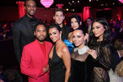 (L-R back) Chris Bosh, Isaac Carew, Dua Lipa, (front L-R) Miguel, Nazanin Mandi, Adrienne Williams Bosh, and Nicole Scherzinger attend the Pre-GRAMMY Gala and GRAMMY Salute to Industry Icons Honoring Clarence Avant at The Beverly Hilton Hotel on February 9, 2019 in Beverly Hills, California.
