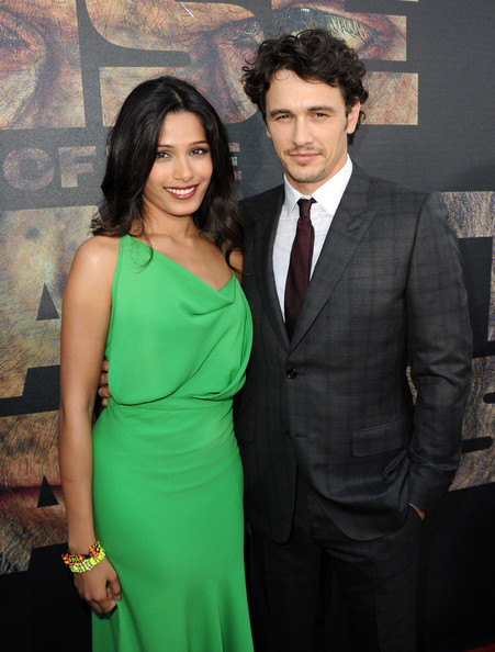 "Actress Freida Pinto (L) and actor James Franco arrive at the premiere of 20th Century Fox's ""Rise Of The Planet Of The Apes"" held at Grauman's Chinese Theatre on July 28, 2011 in Los Angeles, California."