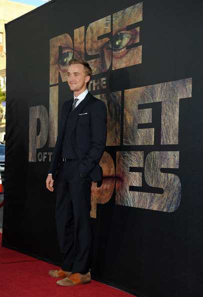 "Actor Tom Felton arrives at the premiere of 20th Century Fox's ""Rise Of The Planet Of The Apes"" held at Grauman's Chinese Theatre on July 28, 2011 in Los Angeles, California."