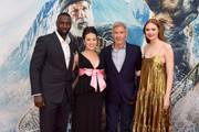 """(L-R) Omar Sy, Cara Gee, Harrison Ford, and Karen Gillan attend the Premiere of 20th Century Studios' """"The Call of the Wild"""" at El Capitan Theatre on February 13, 2020 in Los Angeles, California."""