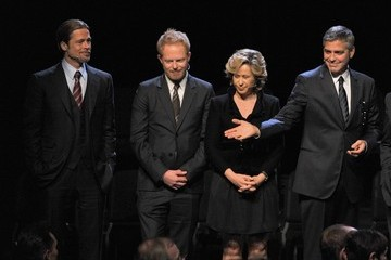 """Brad Pitt George Clooney Premiere Of """"8"""" At The Wilshire Ebell Theatre - Curtain Call"""