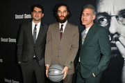 """(L-R) Directors Benny Safdie, Josh Safdie and writer Ronald Bronstein at the premiere of A24's """"Uncut Gems"""" at The Dome at Arclight Hollywood on December 11, 2019 in Hollywood, California."""